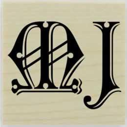 "Two Decorative Letter Custom Monogram Stamp - 1.5"" X 1.5"" - Stamptopia"