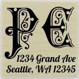 "Two Decorative Monogram Return Address Stamp - 1.5"" X 1.5"" - Stamptopia"