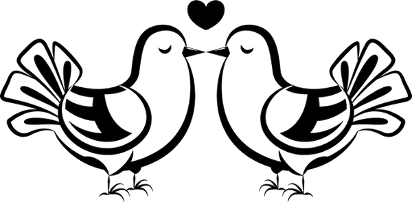 Two Doves Kissing Stamp - Stamptopia
