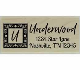 "Underwood Handwritten Monogram Stamp - 2.5"" X 1"" - Stamptopia"