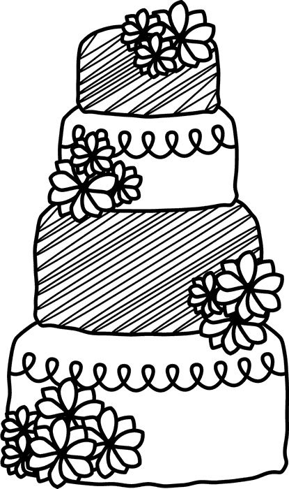 Wedding Cake Rubber Stamp With Flowers - Stamptopia