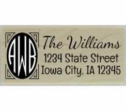 "Williams Round Initial Address Stamp - 2.5"" X 1"" - Stamptopia"