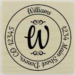 "Williams Round Monogram Address Stamp - 1.5"" X 1.5"" - Stamptopia"