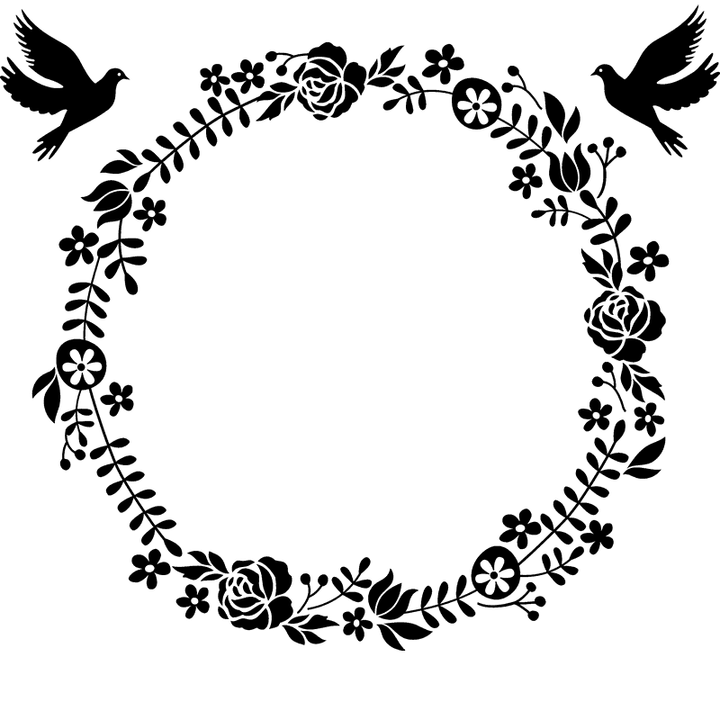 Flower Wreath Personalised Laser Rubber Stamp Handmade By