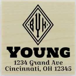 "Young Diamond Monogram Address Stamp - 1.5"" X 1.5"" - Stamptopia"