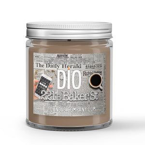 221b Baker Street Candle - Newspaper Print - Pipe Tobacco - Espresso - 4oz Very Adorable Size Candle® - Dio Candle Company