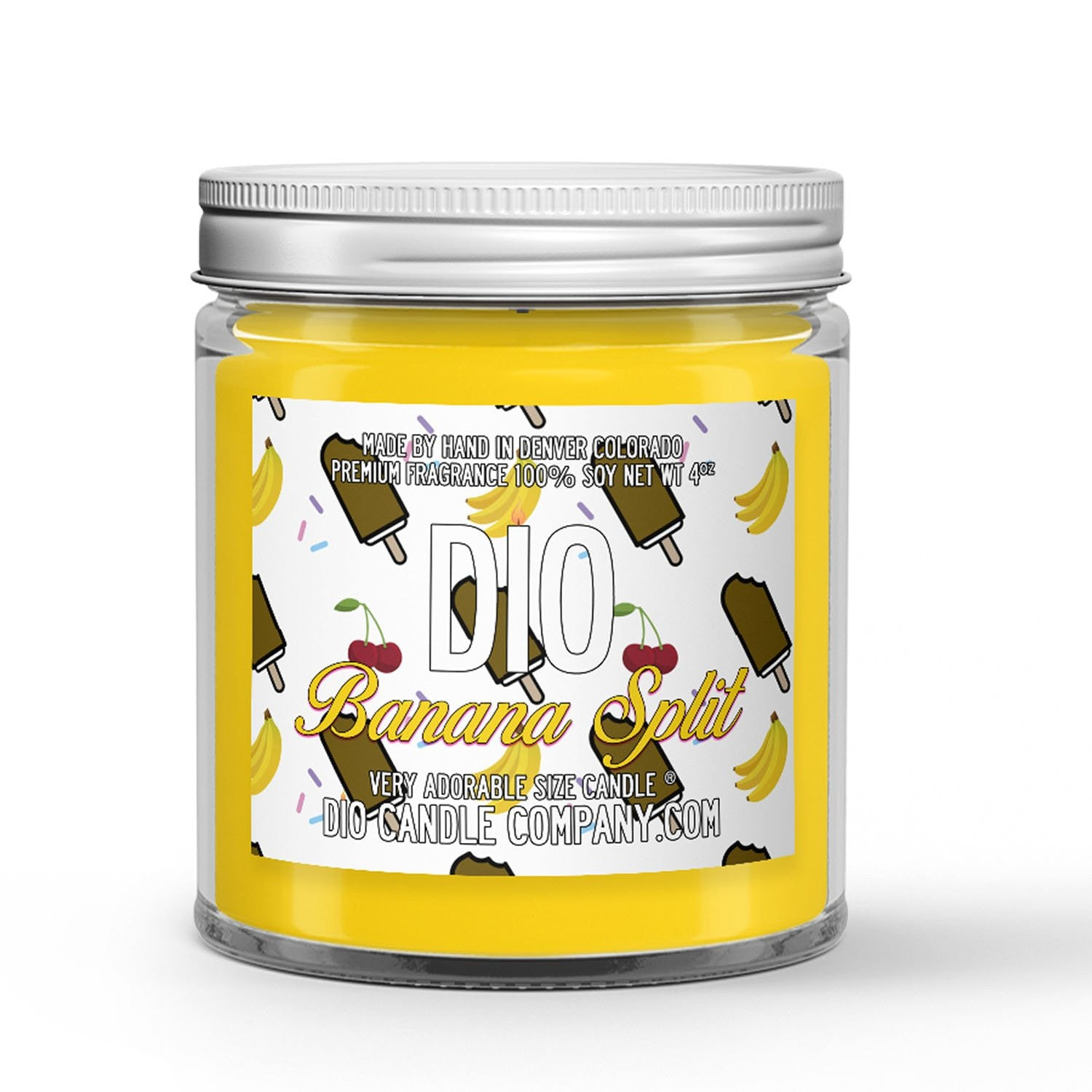Chocolate Banana Ice Cream - Cherry - Hot Fudge Scented - Banana Split Ice Cream Candle - 4 oz - Dio Candle Company