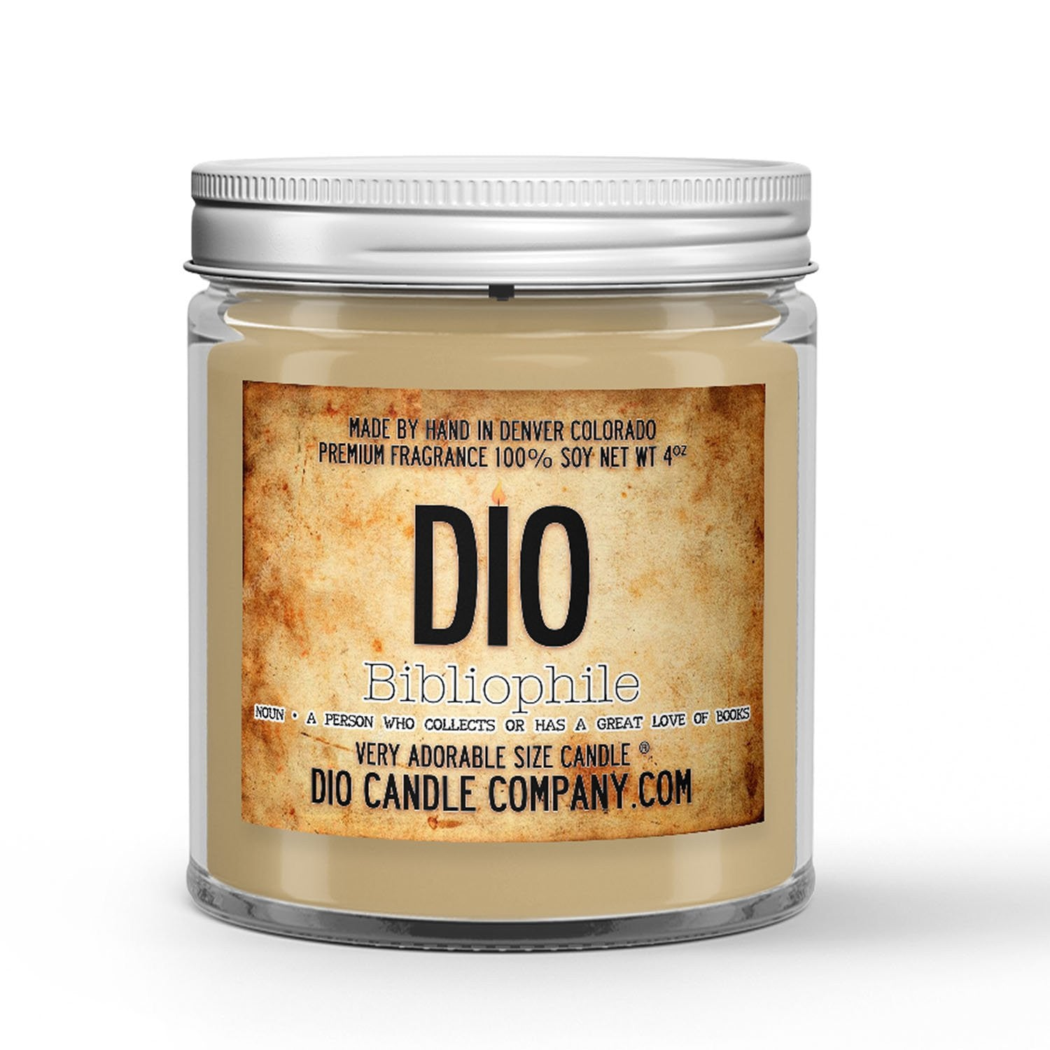 Bibliophile Candle - Parchment - Lemon - Saw Dust - Dried Ink - 4oz Very Adorable Size Candle® - Dio Candle Company