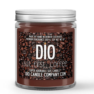 Ground Coffee Bean - Vanilla Scented - But First Coffee Candle - 8 oz - Dio Candle Company