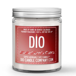 Crushed Candy Canes Candle - Sweet Vanilla - Crisp Peppermint - 8oz Super Adorable Size Candle® - Dio Candle Company