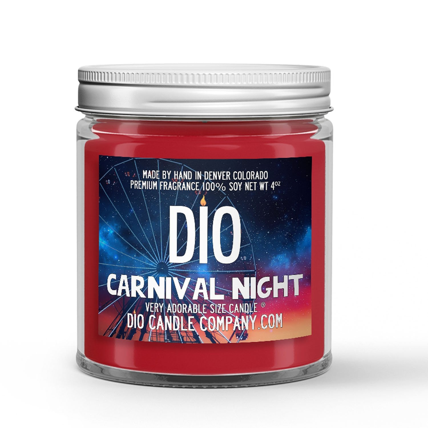 Carnival Night Candle - Candied Apples - Cotton Candy - Tilled Dirt - Fireworks - 4oz Very Adorable Size Candle® - Dio Candle Company