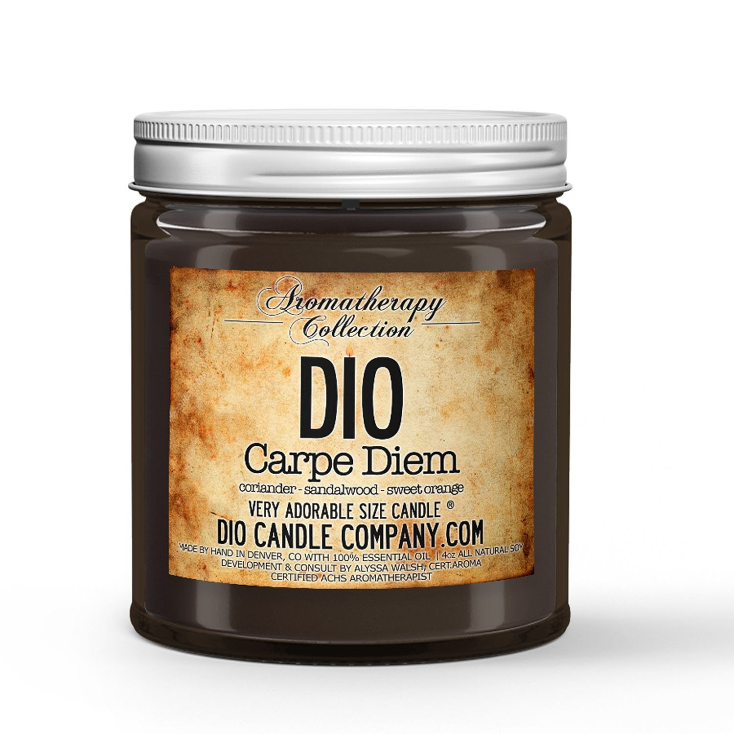 Carpe Diem Aromatherapy Candle Coriander - Sandalwood - Sweet Orange Scented - Dio Candle Company