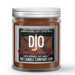 Chestnuts by the Fire Candle - Roasted Chestnuts - Clove - Vanilla Wood Stove - 8oz Super Adorable Size Candle® - Dio Candle Company