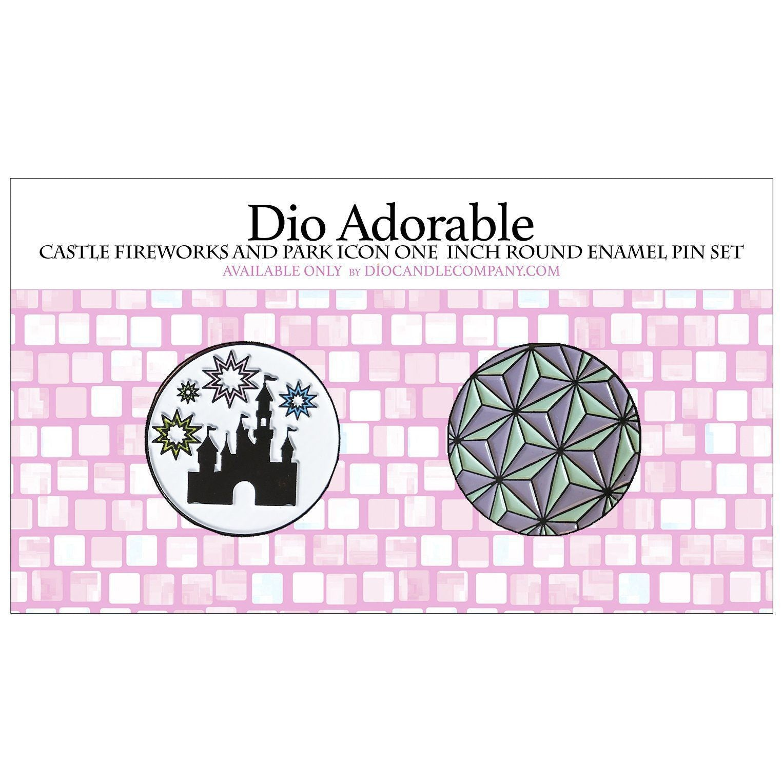 "Dio Adorable Castle Fireworks and Park Icon 1"" Round Enamel Pin Set  Scented - Dio Candle Company"