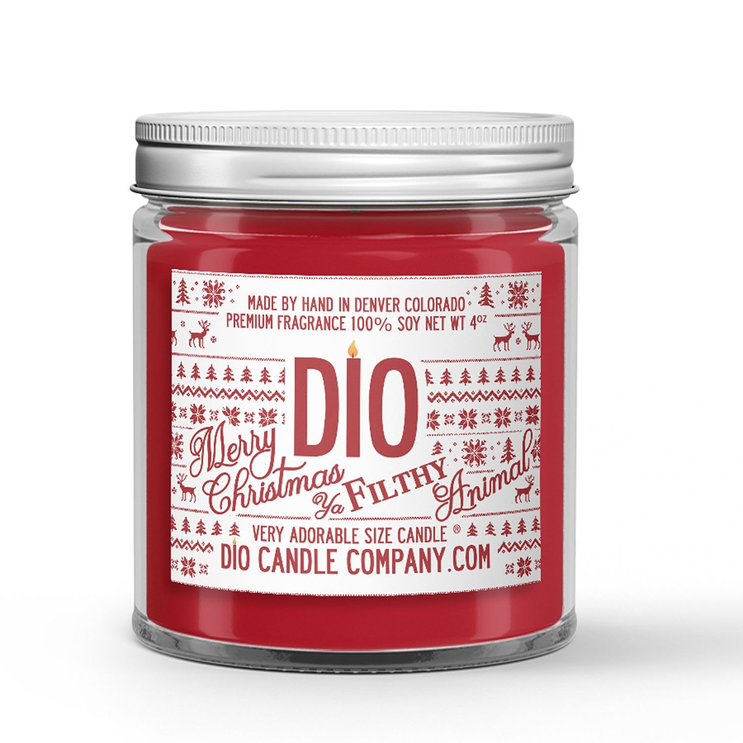 Merry Christmas Ya Filthy Animal Candle - Christmas Tree - Orange Spice - 4oz Very Adorable Size Candle® - Dio Candle Company