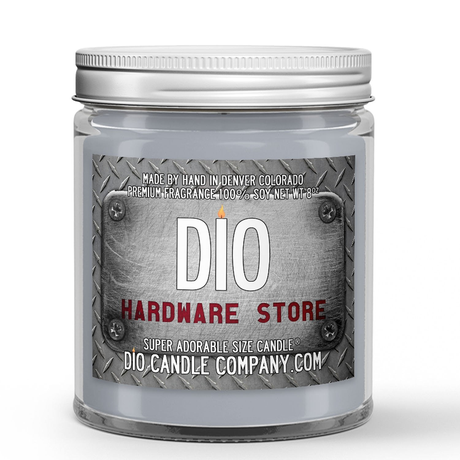 Hardware Store Candle - Paint Mixers - Wooden Dowels - Dusty Metal Shelves - 8oz Super Adorable Size Candle® - Dio Candle Company