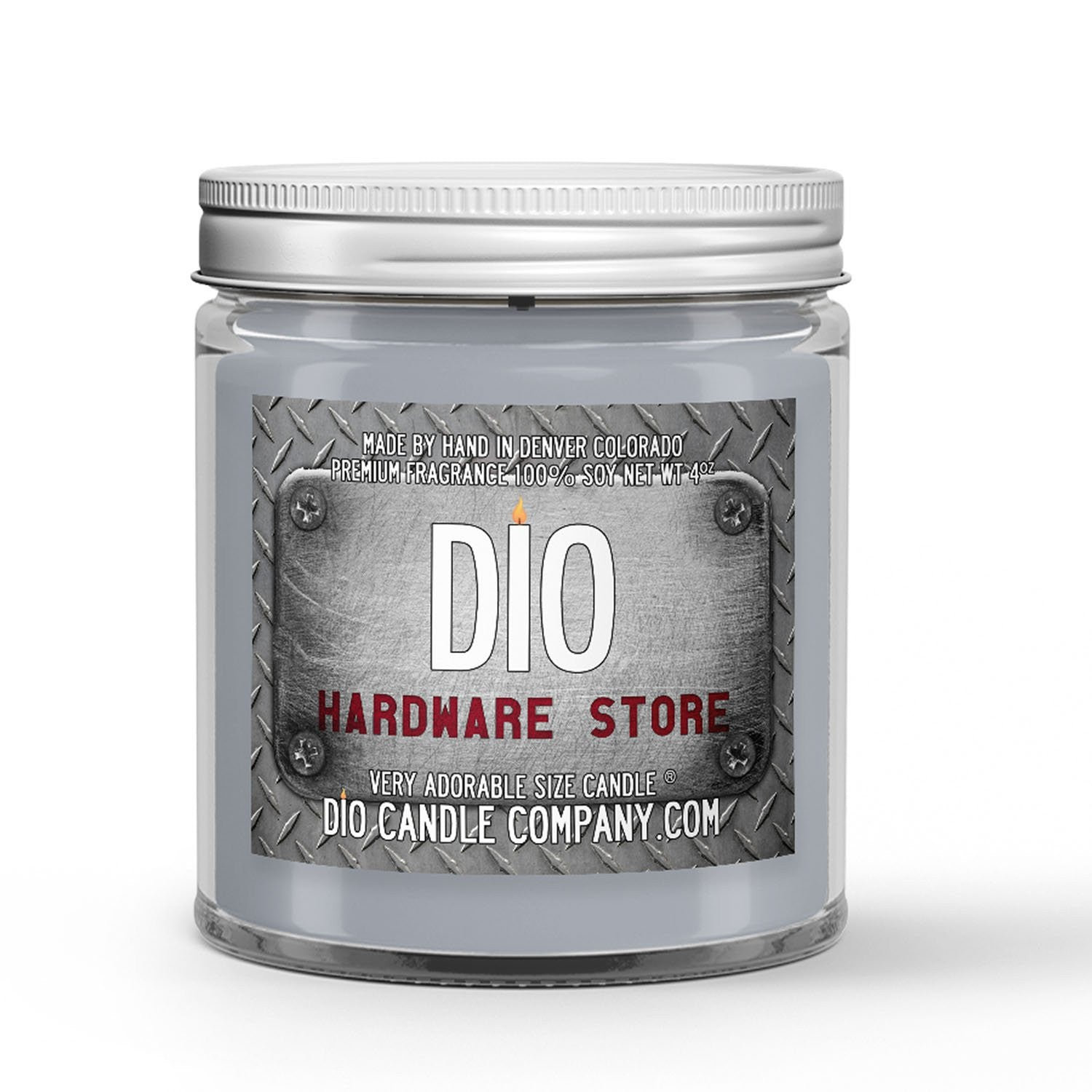 Hardware Store Candle - Paint Mixers - Wooden Dowels - Dusty Metal Shelves - 4oz Very Adorable Size Candle® - Dio Candle Company