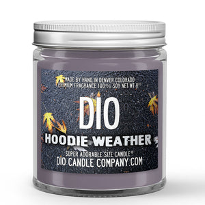 Hoodie Weather Candle - Heather Sweatshirt - Chilly Autumn Air - 8oz Super Adorable Size Candle® - Dio Candle Company