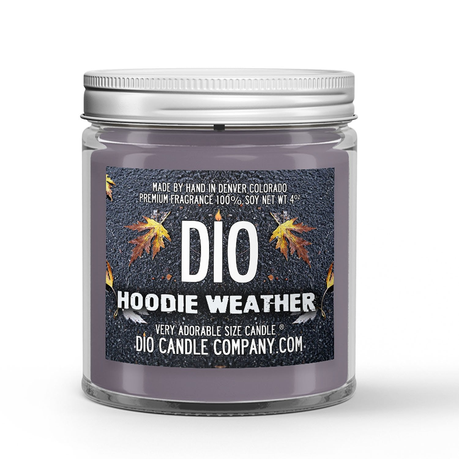 Hoodie Weather Candle - Heather Sweatshirt - Chilly Autumn Air - 4oz Very Adorable Size Candle® - Dio Candle Company
