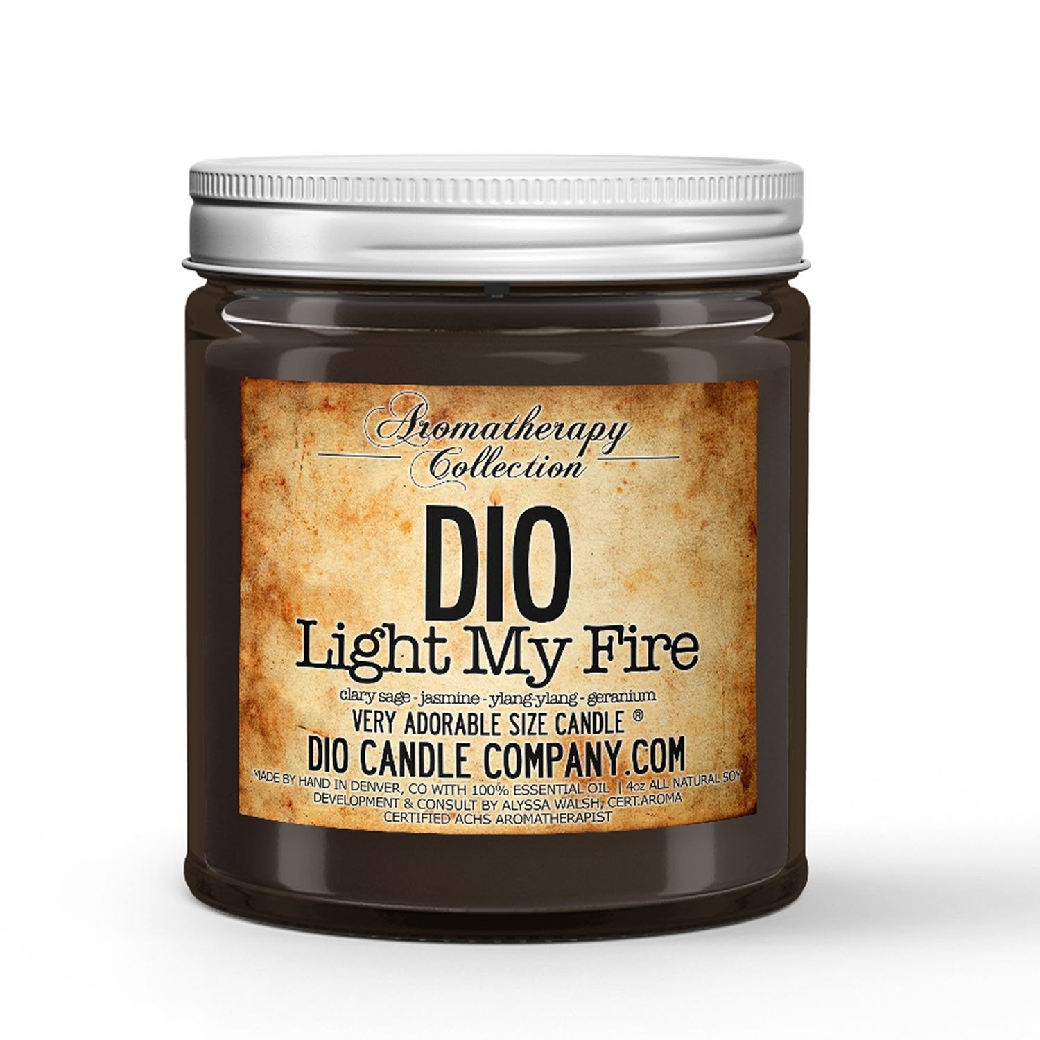 Light My Fire Aromatherapy Candle Clary Sage - Jasmine - Ylang Ylang - Geranium Scented - Dio Candle Company