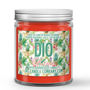 Hawaiian Ohana Candle - Hawaiian Pineapple - Plumeria - Coconut - 8oz Super Adorable Size Candle® - Dio Candle Company