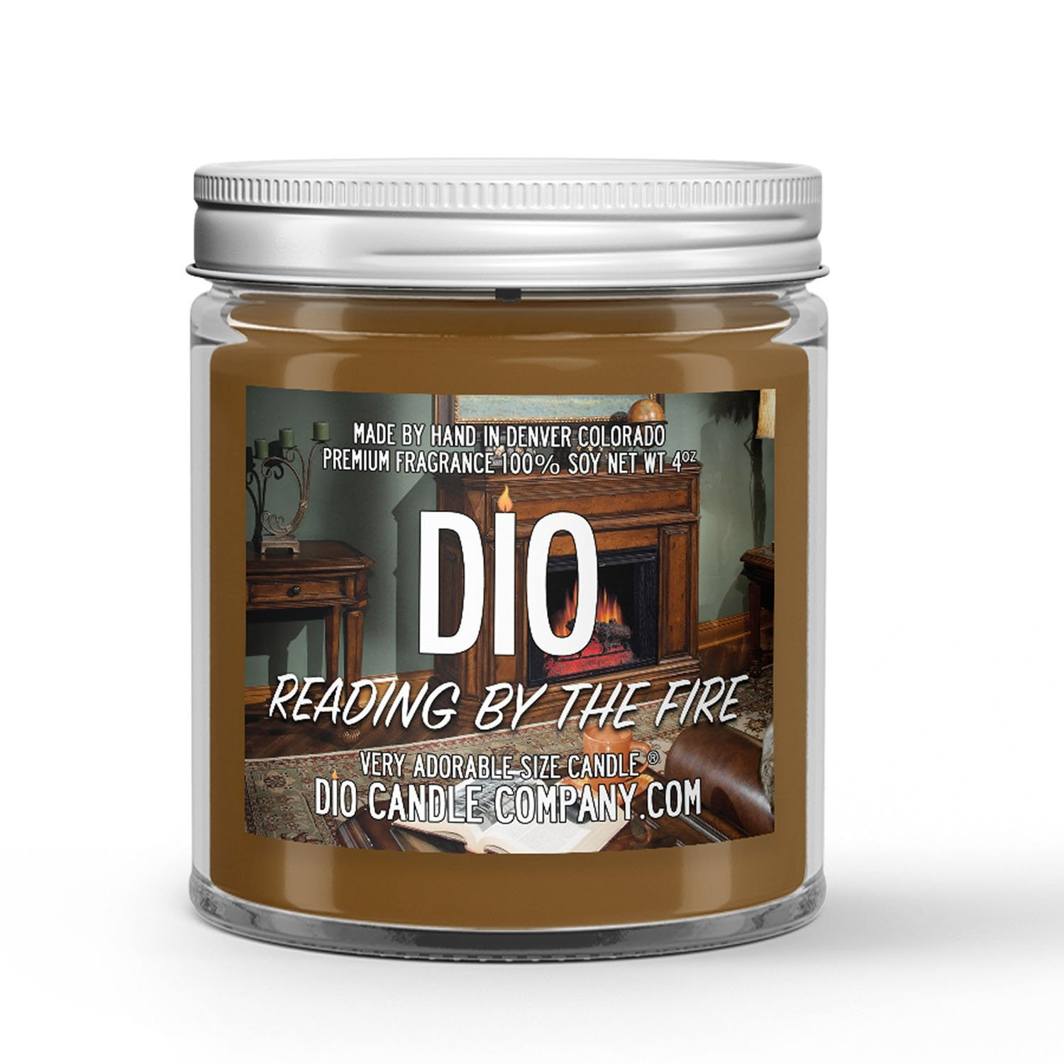 Reading by the Fire Candle - Crackling Fire - Vanilla - Books - 4oz Very Adorable Size Candle® - Dio Candle Company
