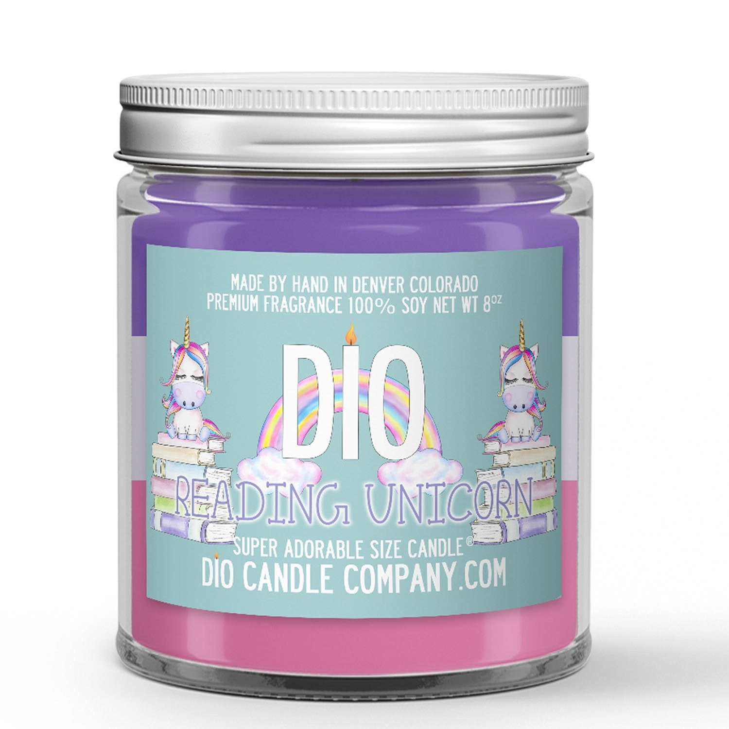 Reading Unicorn Candle - Watermelon Cotton Candy - 4oz Very Adorable Size Candle® - Dio Candle Company