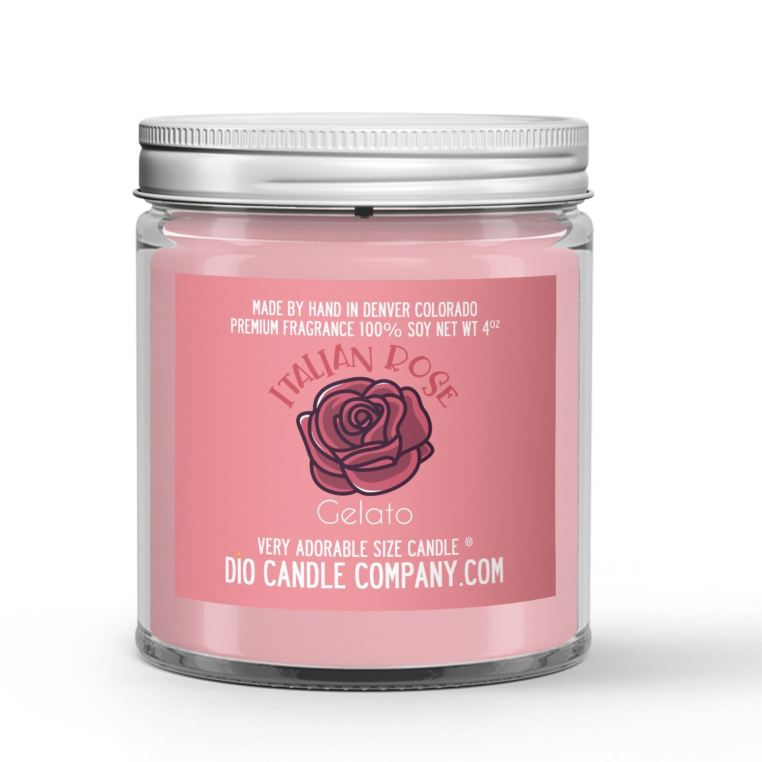 Italian Rose Gelato Candle Rose - Cream - Sugar Scented - Dio Candle Company