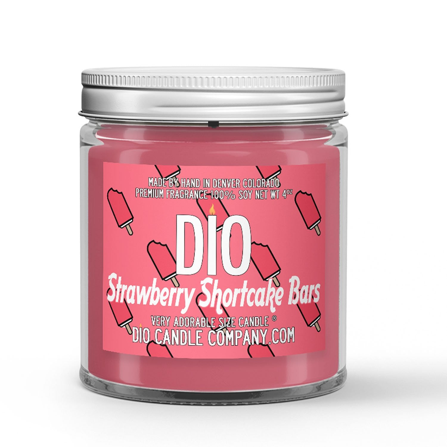 Strawberry Shortcake Ice Cream Candle Ice Cream - Strawberries - Cake Scented - Dio Candle Company