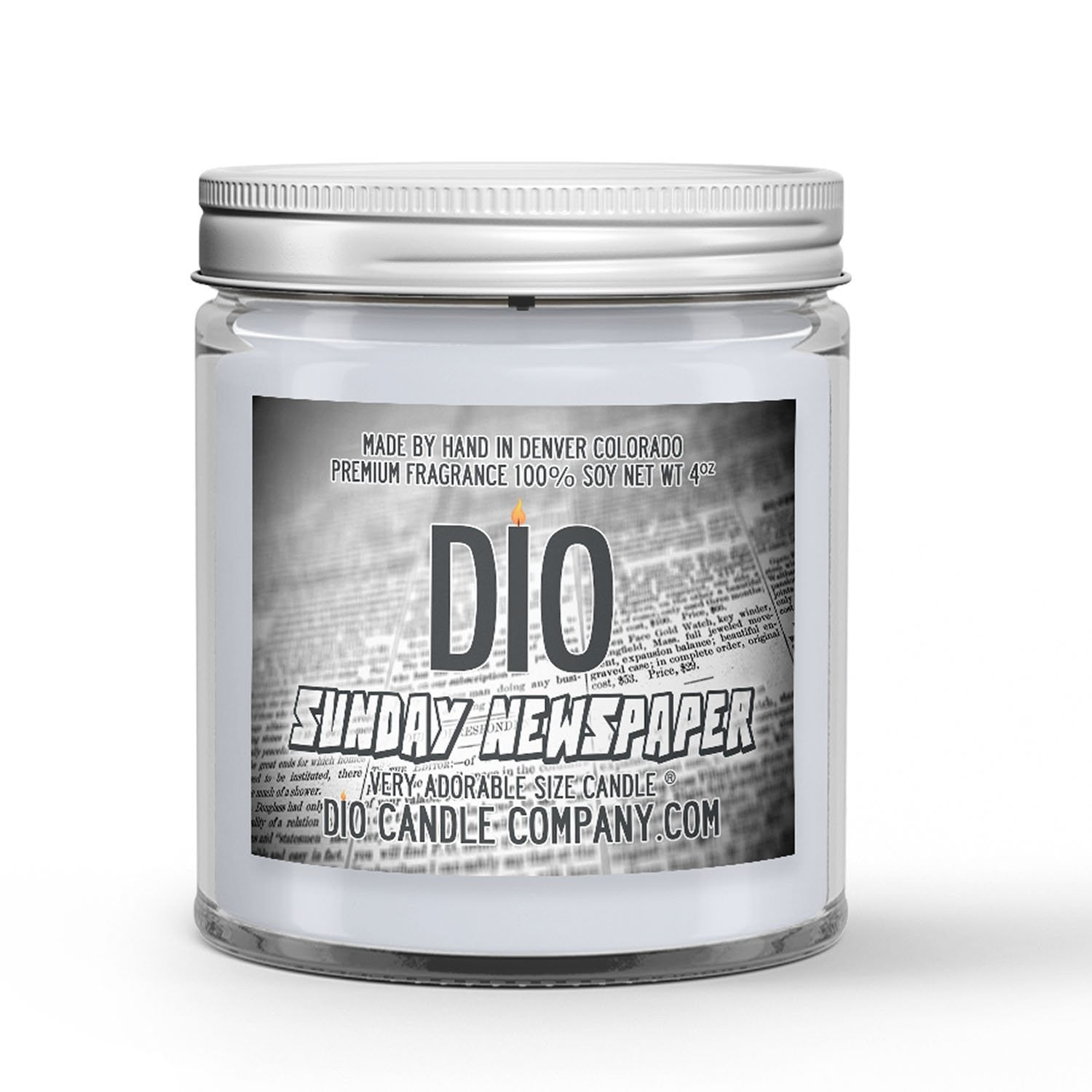 Sunday Newspaper Candle - Newspaper - Dried Ink - 4oz Very Adorable Size Candle® - Dio Candle Company