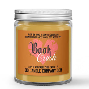 Book Crush Candle - Cologne - Musk - Amber - 8oz Super Adorable Size Candle® - Dio Candle Company