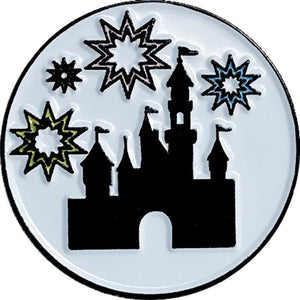 "Dio Adorable Castle Fireworks and Park Icon 1"" Round Enamel Pin Set Adorable Enamel Pin Soft Enamel Pin"