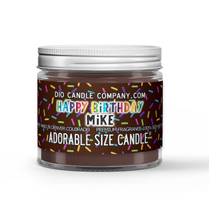 Chocolate Cake - Fudge Icing Scented - Chocolate Happy Birthday Candle - 1 oz - Dio Candle Company
