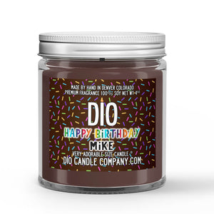 Chocolate Happy Birthday Candle Chocolate Cake - Fudge Icing Scented - Dio Candle Company