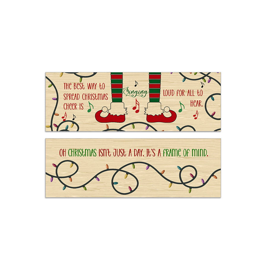 Double Sided Christmas Cheer Aspen Wood Bookmark