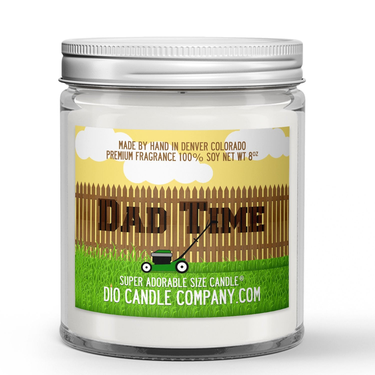 Dad Time Candle - Grass - Sprinkler Water - Earth - 8oz Super Adorable Size Candle® - Dio Candle Company