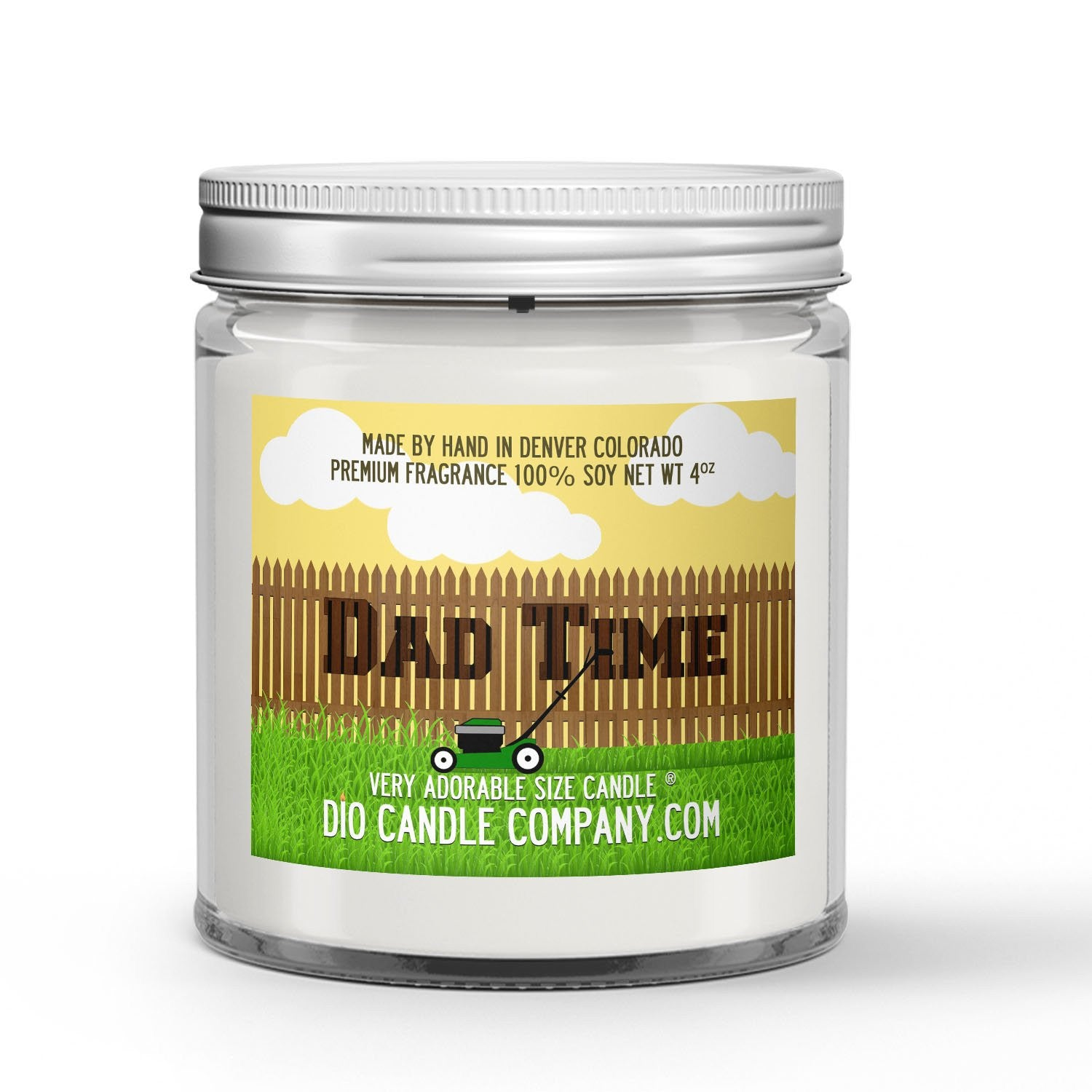 Dad Time Candle - Grass - Sprinkler Water - Earth - 4oz Very Adorable Size Candle® - Dio Candle Company