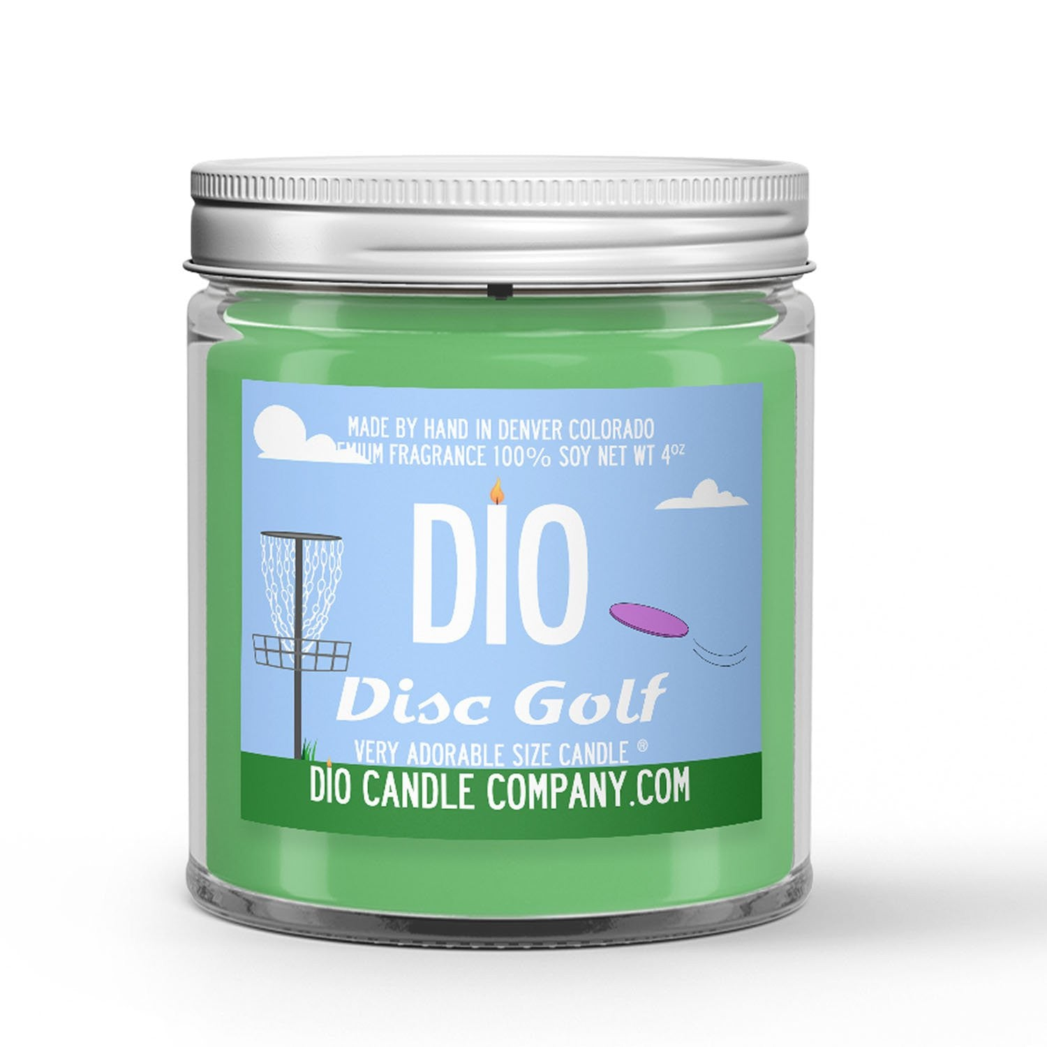 Disc Golf Candle - Grass - Dirt - Wind - 4oz Very Adorable Size Candle® - Dio Candle Company