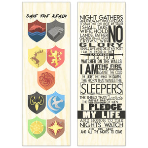 Double Sided Westeros Maple Wood Bookmark Double Sided Printed Maple Wood Bookmark - Dio Candle Company