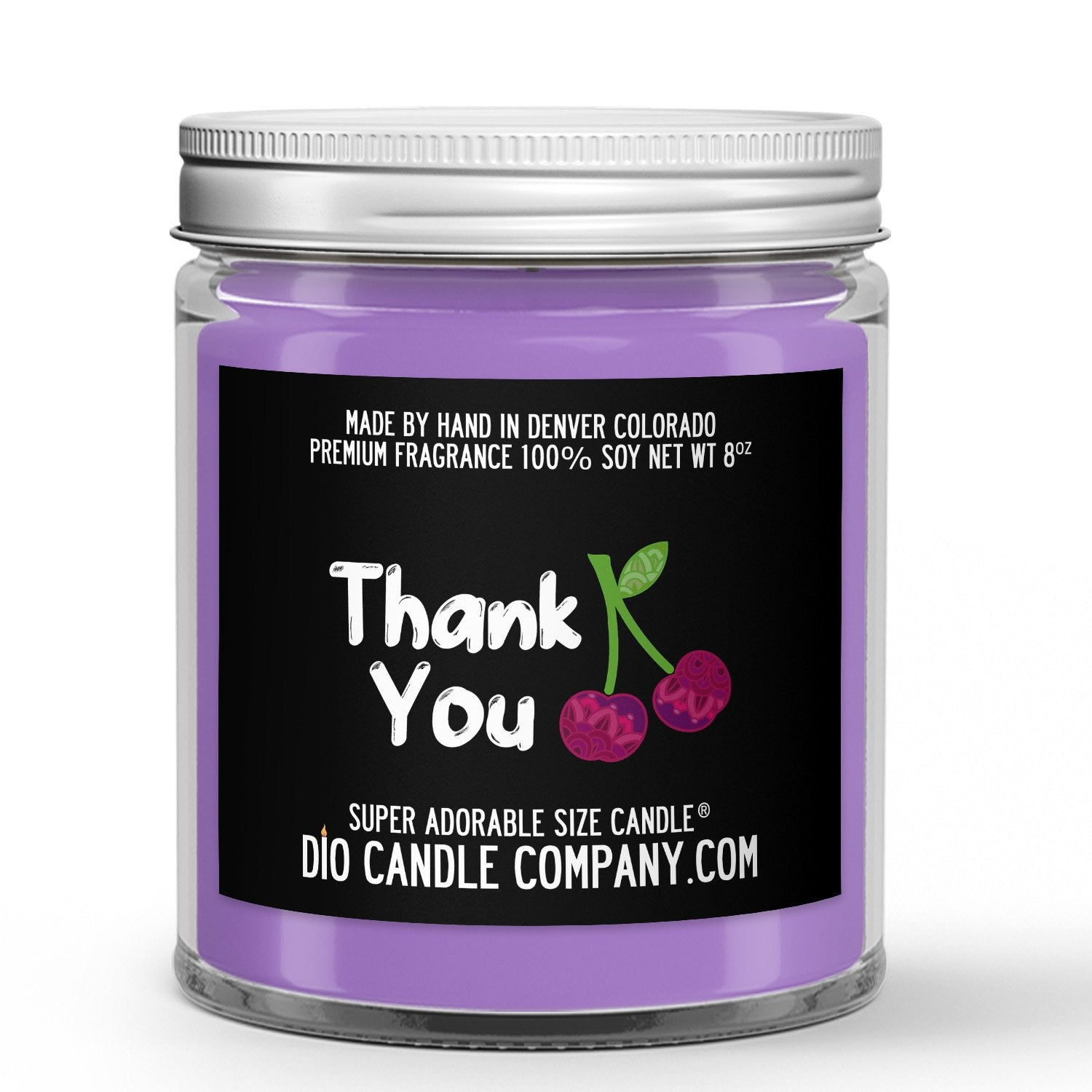 Gratitude Candle - Black Cherry - 8oz Super Adorable Size Candle® - Dio Candle Company