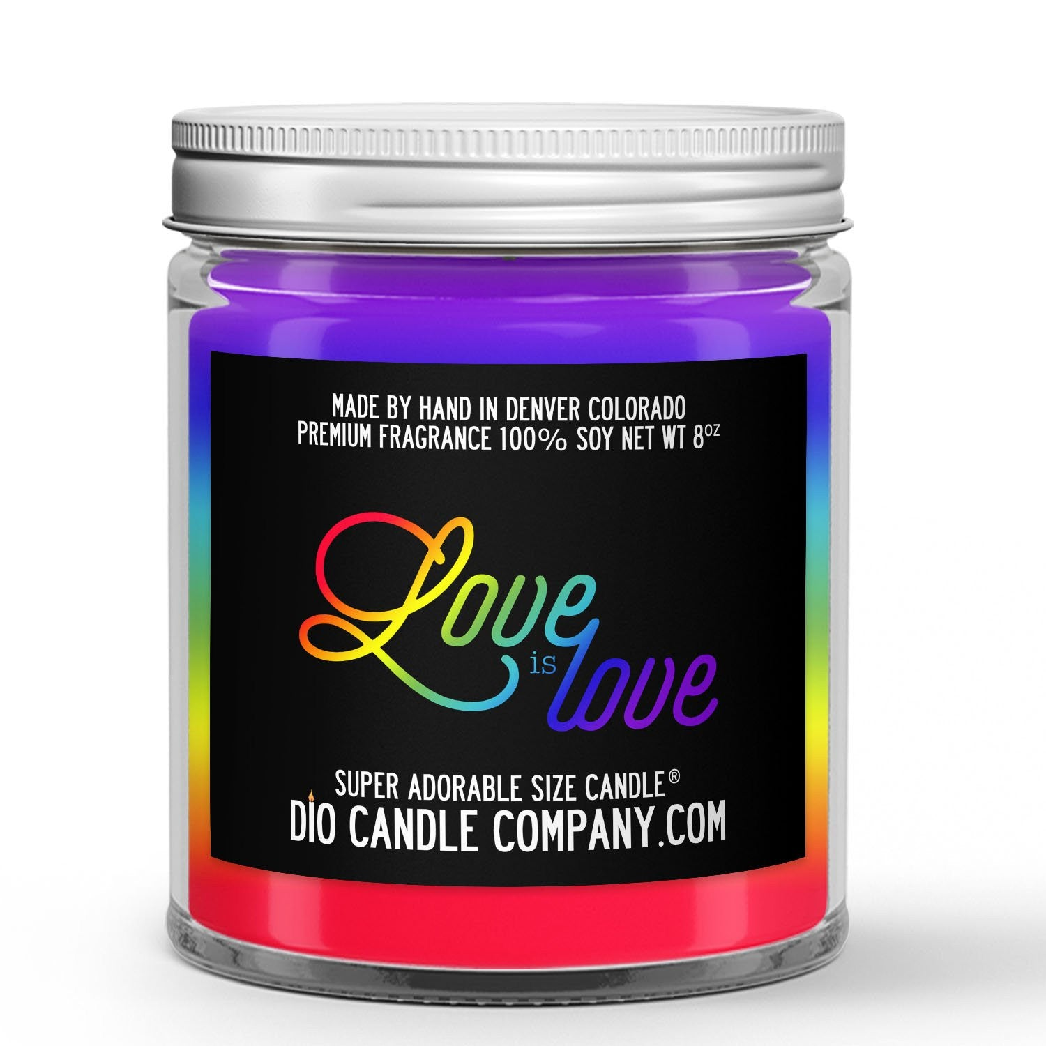 Love is Love Candle - Powdered Sugar - Sweet Cereal - 8oz Super Adorable Size Candle® - Dio Candle Company