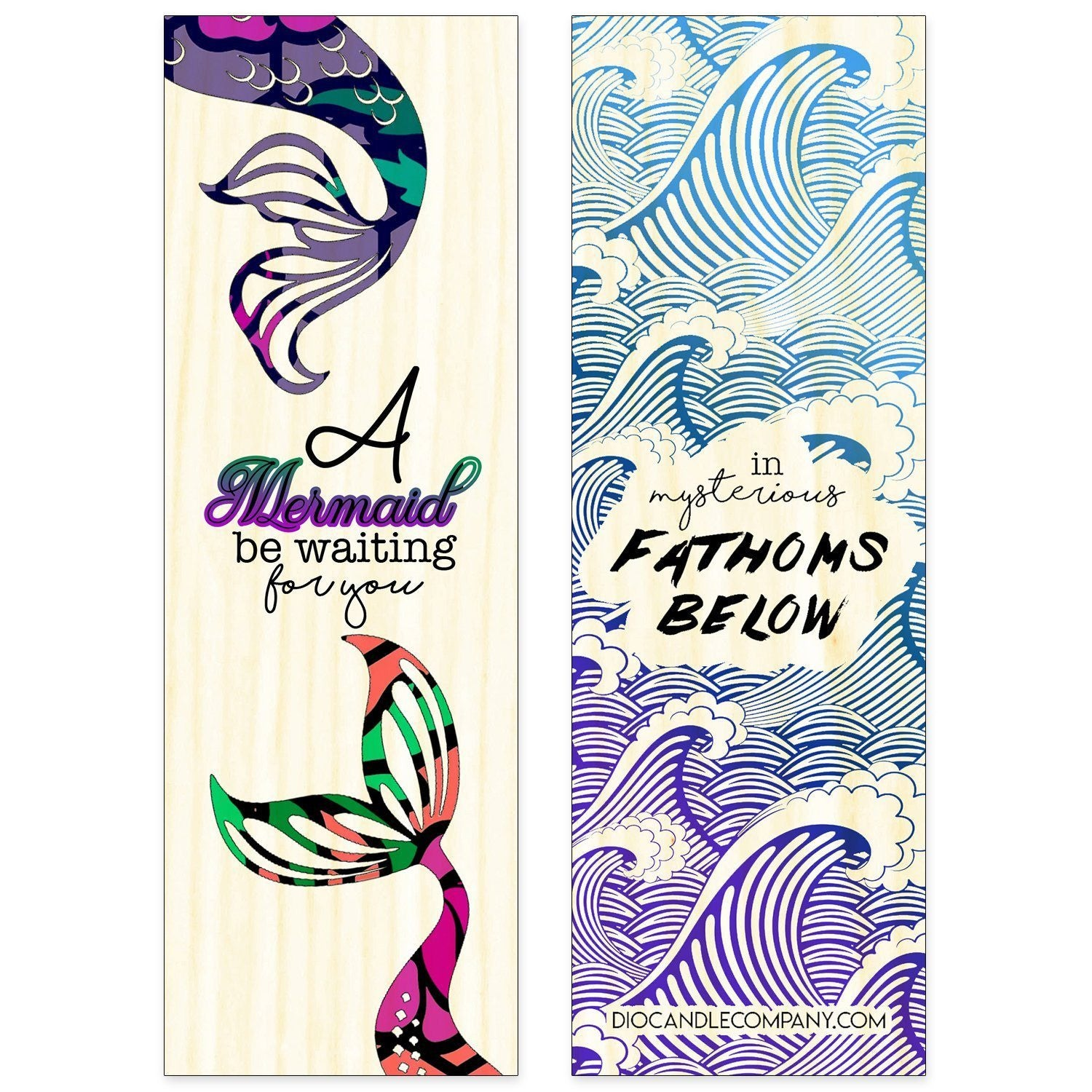 Double Sided Mermaid Aspen Wood Bookmark - Double Sided Printed Adorable Bookmarks - [variant_title] - Dio Candle Company
