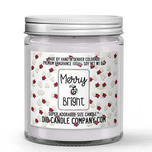 Merry and Bright Candle - Kettle Popcorn - Dried Cranberry - 8oz Super Adorable Size Candle® - Dio Candle Company