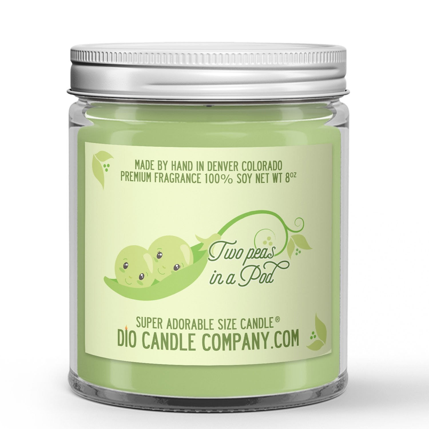 Two Peas in a Pod Candle - Snap Peas - 8oz Super Adorable Size Candle® - Dio Candle Company