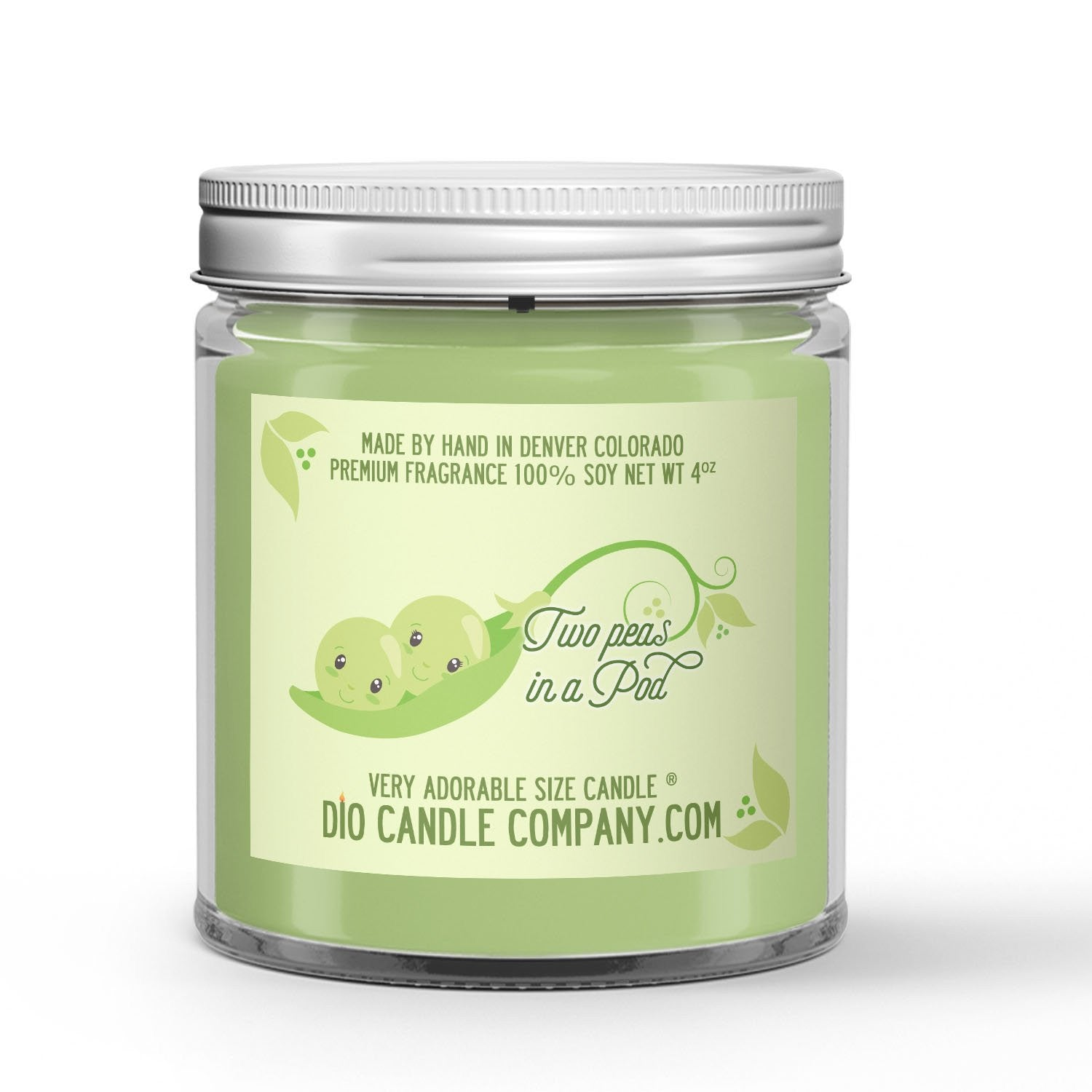 Two Peas in a Pod Candle - Snap Peas - 4oz Very Adorable Size Candle® - Dio Candle Company