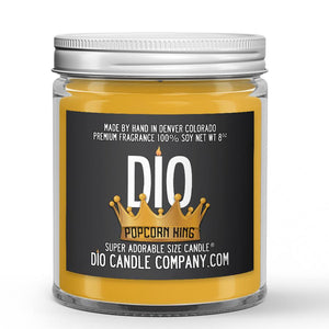 Popcorn King Candle - Buttery Caramel Popcorn - 8oz Super Adorable Size Candle® - Dio Candle Company