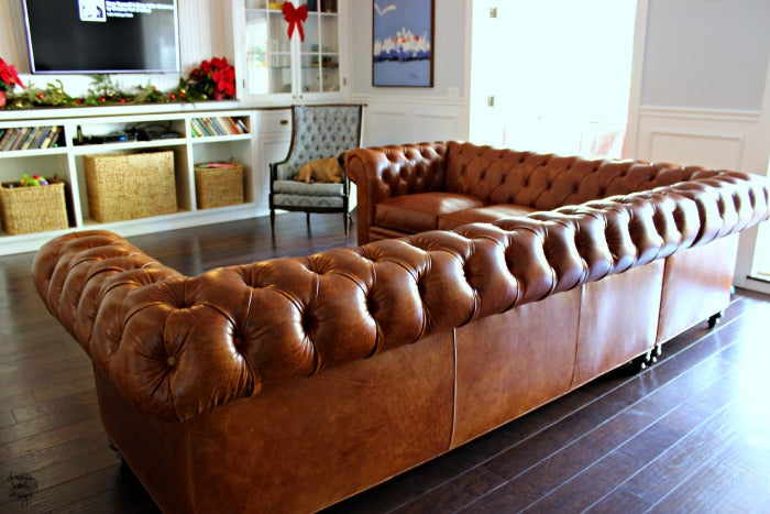 Kenzie leather sectional.