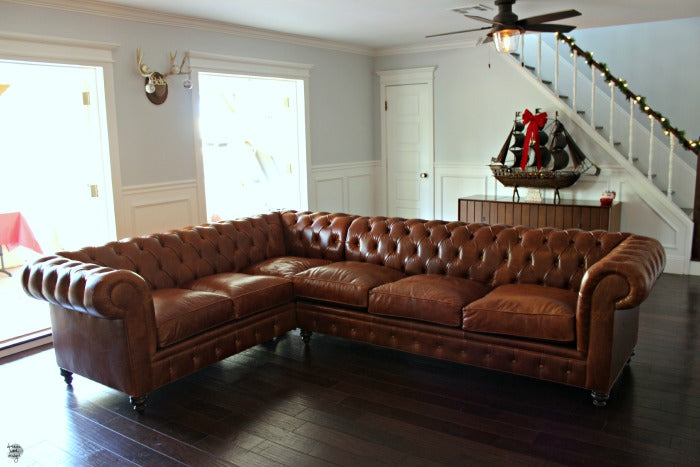 Kenzie leather L shaped sectional.