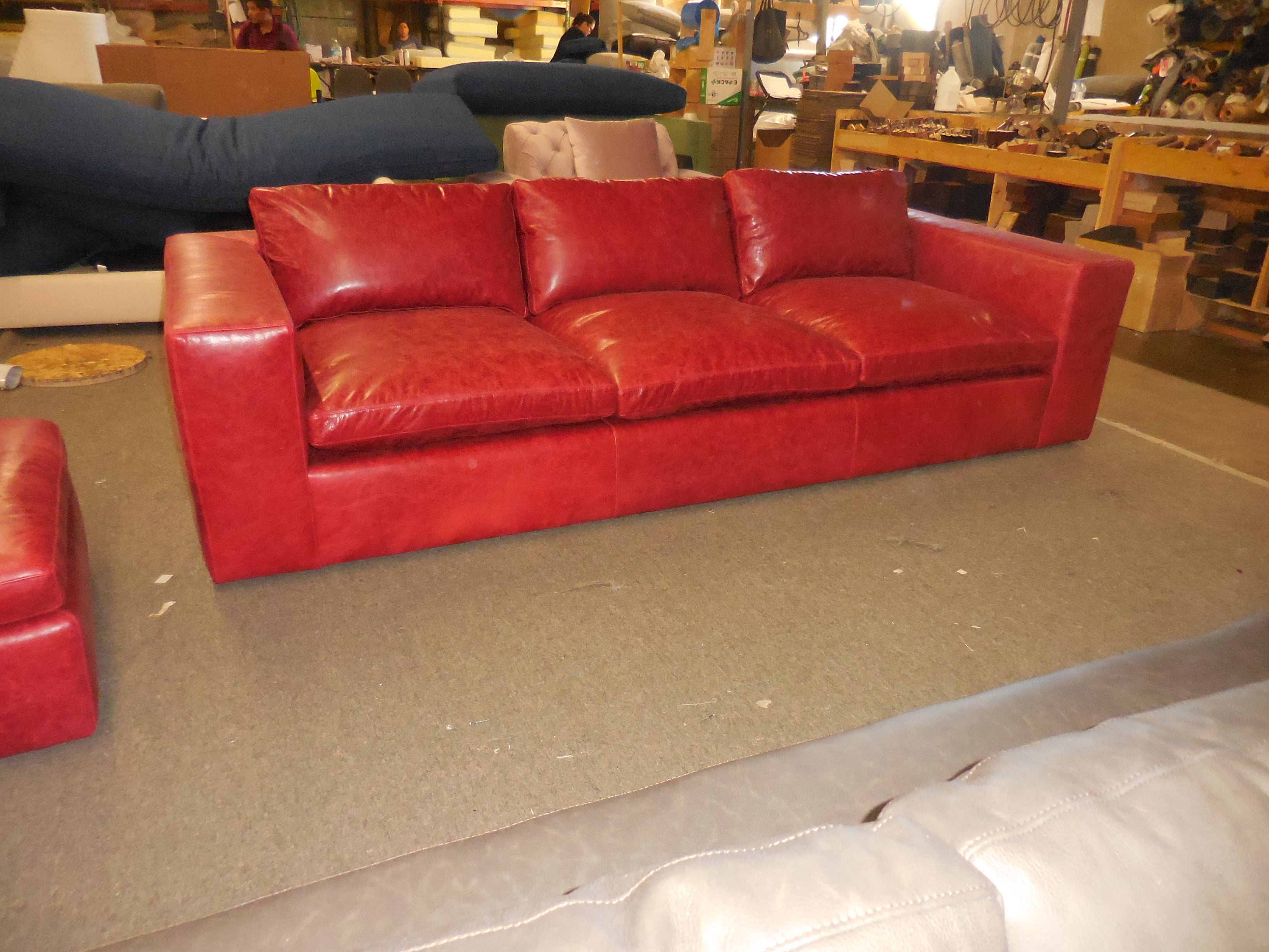 Claudia red leather sofa.
