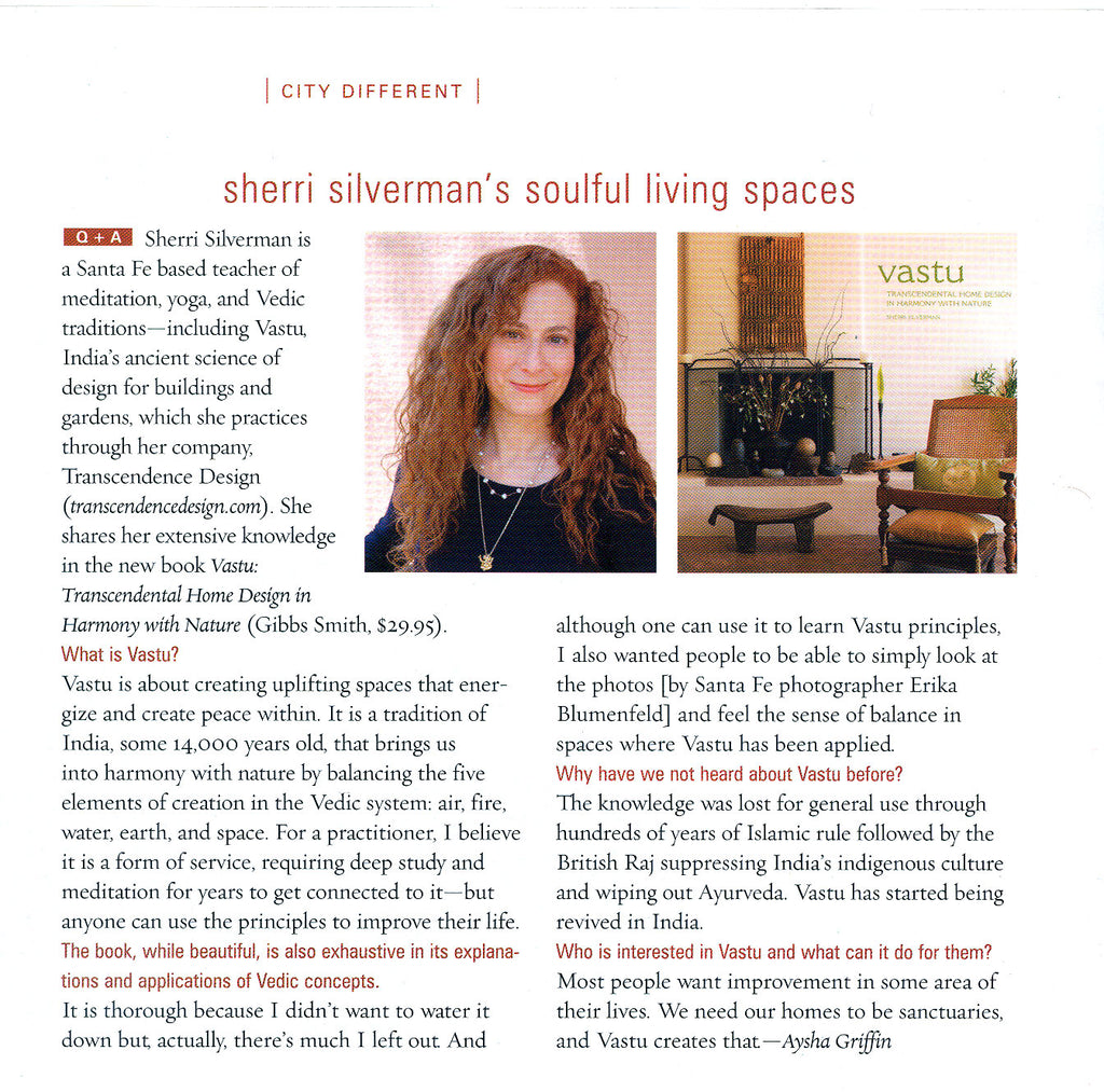 vastu article sherri silverman press santafean magazine santa fe